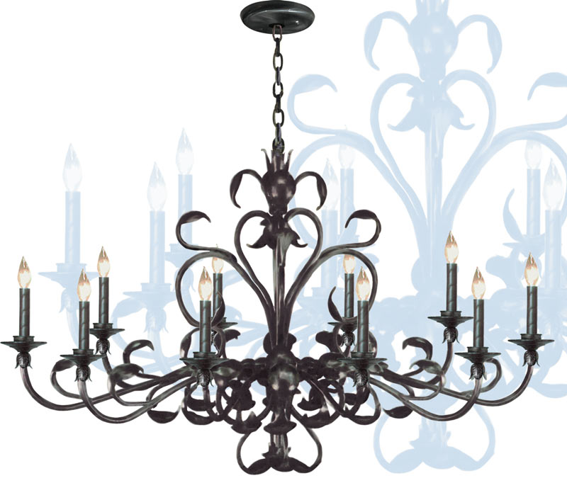G81-SC/208/3 - WROUGHT IRON CHANDELIER WITH PINK SHADES!