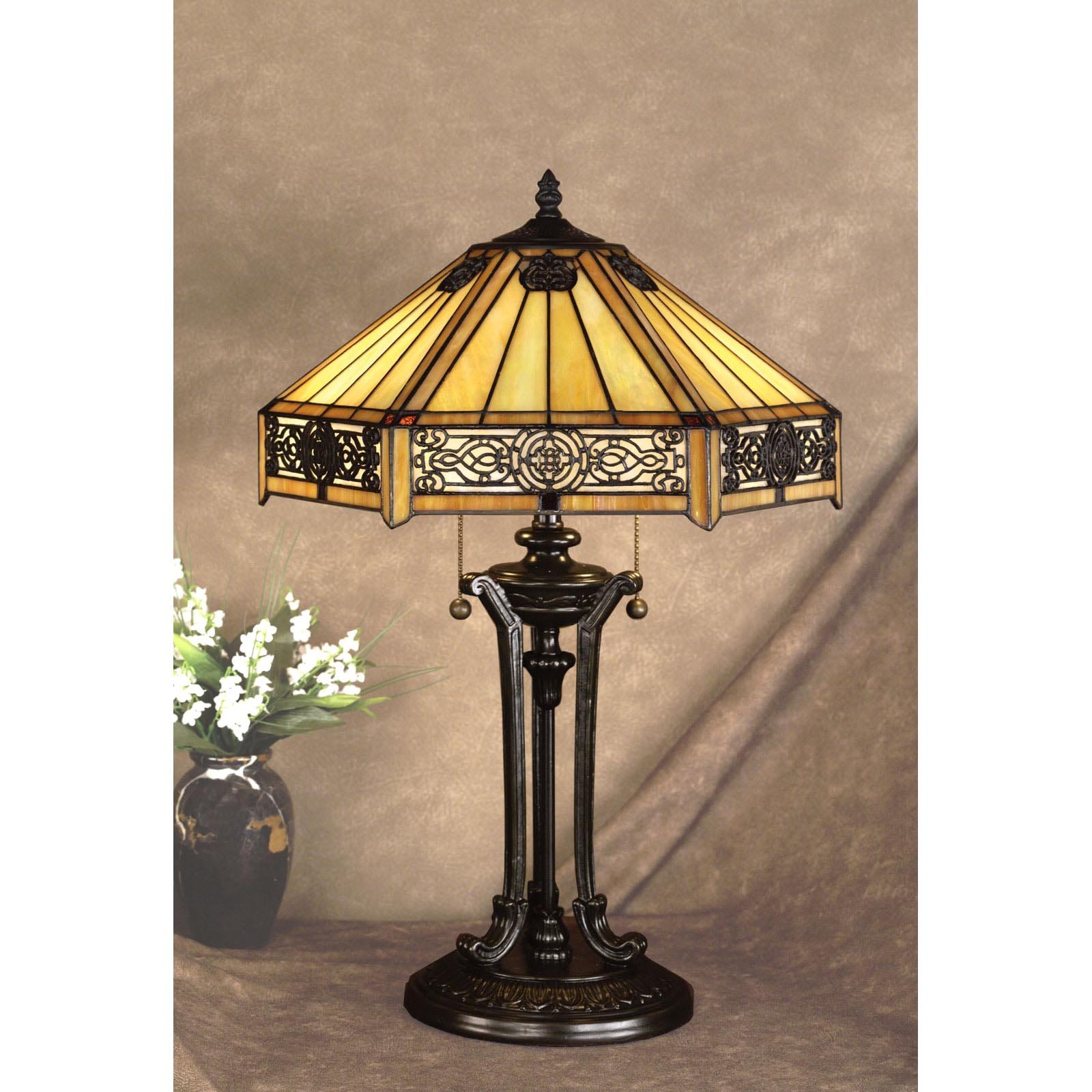 Tiffany lamp quoizel on deluxe interior lighting design - Chandelier desk lamp ...